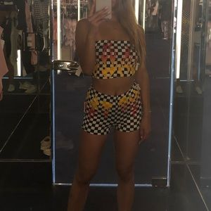 BNWT Festival rave Checkered Flame Set